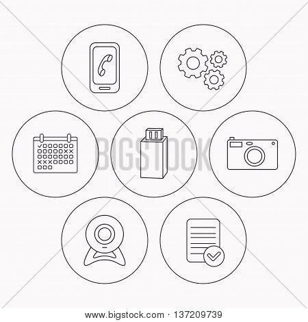 Photo camera, mobile phone and Usb flash icons. Web camera linear sign. Check file, calendar and cogwheel icons. Vector