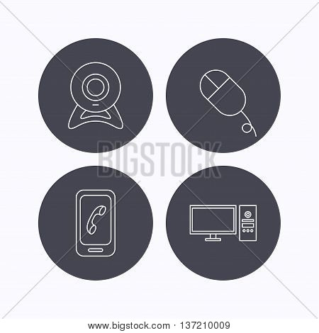 Computer, web camera and mobile phone icons. PC case linear sign. Flat icons in circle buttons on white background. Vector
