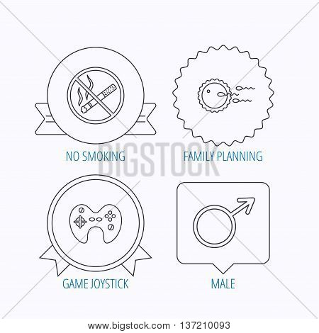 No smoking, family planning and game joystick icons. Male linear sign. Award medal, star label and speech bubble designs. Vector