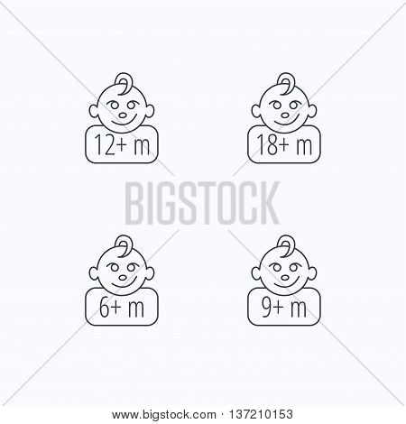 Infant child and toddler baby icons. 6-18 months child linear sign. Flat linear icons on white background. Vector