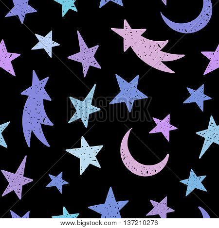 Cosmic seamless grunge pattern of the colorful star, moon and comet on black background. Design element for background, textile, paper packaging, wrapping paper and other. Vector illustration.