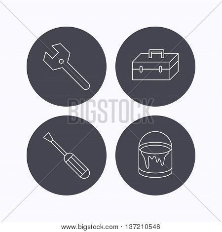 Wrench key, screwdriver and paint bucket icons. Toolbox linear sign. Flat icons in circle buttons on white background. Vector