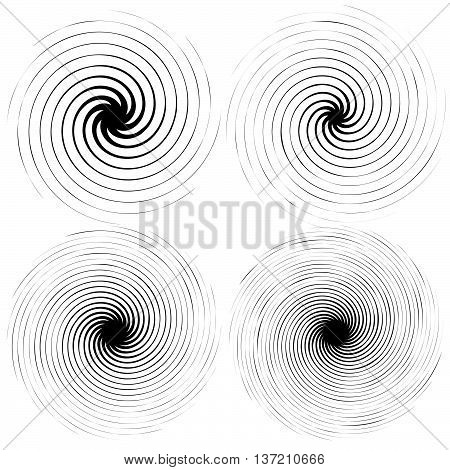 4 Radial Spiral Elements. Rotating, Radiating Lines With Different Level Of Distortion, And Number O