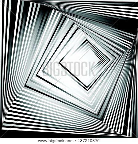 Rotating Squares. Abstract Geometric Monochrome Illustration. Spiral, Vortex Squares Inward