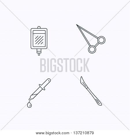 Pipette, blood donation and scalpel icons. Peans forceps linear sign. Flat linear icons on white background. Vector