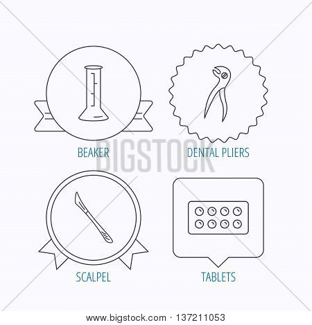 Lab beaker, tablets and dental pliers icons. Scalpel linear sign. Award medal, star label and speech bubble designs. Vector