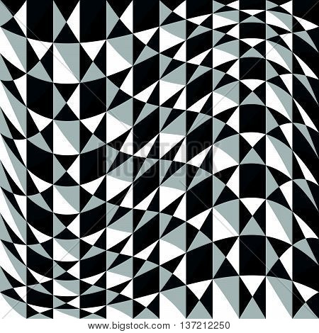 Abstract Background, Pattern With Warp Effect. Black And White, Grayscale Geometric Texture With Dis