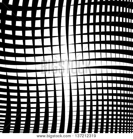 Rippled Grid, Mesh - Intersecting Lines Texture, Abstract Monochrome Geometric Pattern.