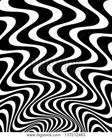 Wavy, Waving - Zigzag Radial Lines. Abstract Monochrome Background