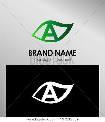 Leaf icon Logo Design Concepts. Letter A