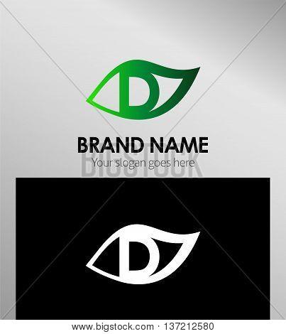 Leaf icon Logo Design Concepts. Letter D
