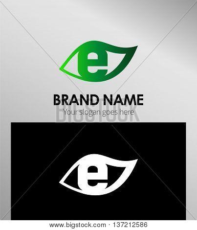 Leaf icon Logo Design Concepts. Letter E