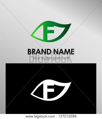 Leaf icon Logo Design Concepts. Letter F