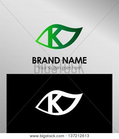 Leaf icon Logo Design Concepts. Letter k