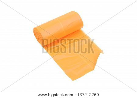 disposable trash bags roll isolated over white background