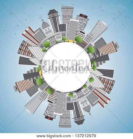 Edmonton Skyline with Gray Buildings, Blue Sky and Copy Space. Vector Illustration. Business Travel and Tourism Concept with Modern Buildings. Image for Presentation Banner Placard and Web Site.