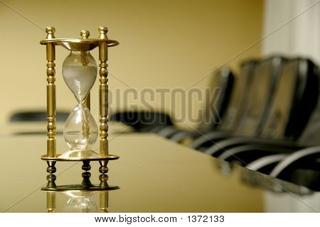 Sand Clock In The Empty Conference Room