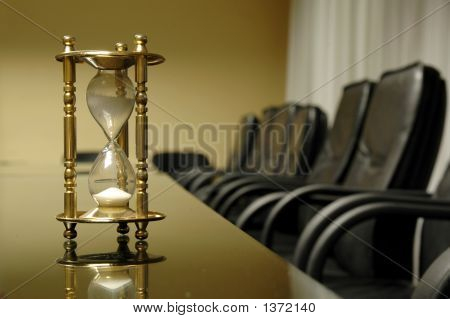 Sand Clock In The Empty Board Room