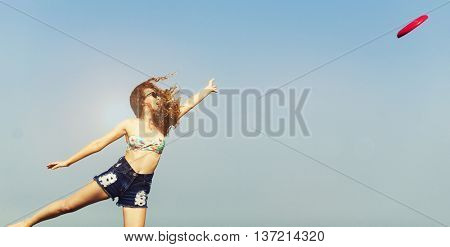 Frisbee Girl Beach Chill Summer Coast Sea Life Concept