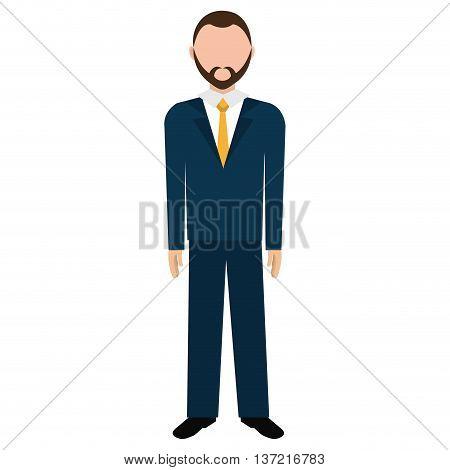 Businessman body complete avatar isolated flat design, vector illustration.