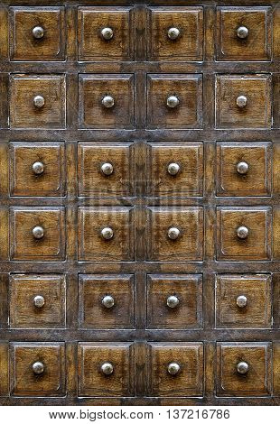 Vintage wooden drawers for background,wooden cabinet drawers.
