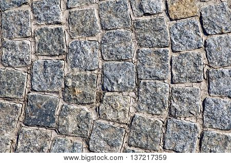 The texture of rough gray granite square tiles