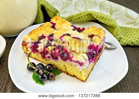 Pie With Black Currant In Plate On Board