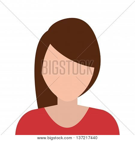 Young and elegant woman profile isoalted flat design, vector illustration.