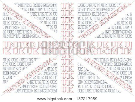 United Kingdom flag constructed from UK text isolated on white background