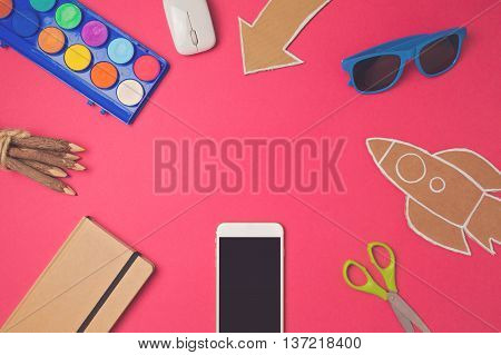 Creative design hero header image. Back to school modern website header background. View from above. Flat lay
