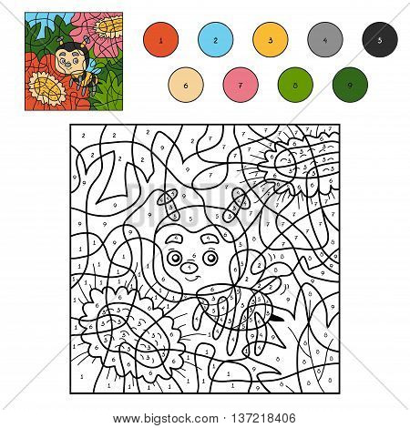 Color By Number For Children With A Bee