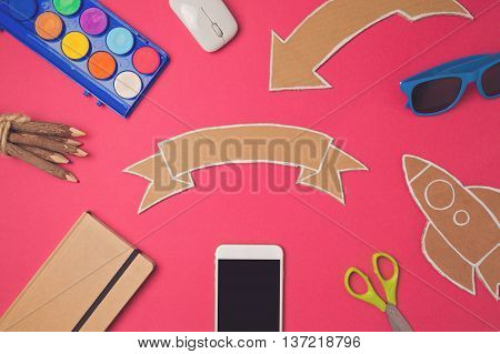 Creative design hero header image with cardboard banner. Back to school modern website header background. View from above. Flat lay