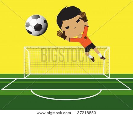 Vector illustration of a goalkeeper Boy trying catching the ball on football gate