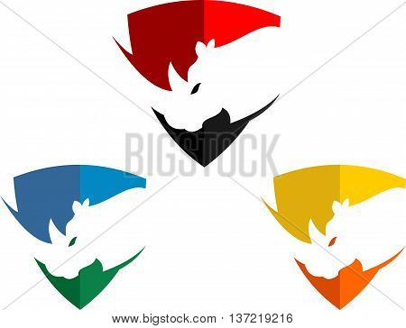 stock logo abstract rhinos with shield multi color