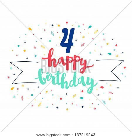 4  Happy Birthday Lettering With Tag And Stars, Crystals. Vector Greeting Card. Cute Pattern