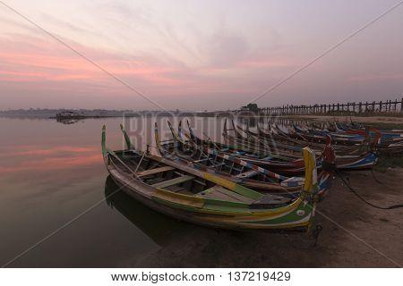 During the a morning sunrise at port Bus U Bein Bridge MandalayMyanmar