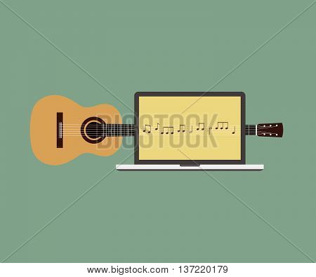 Acoustic guitar melody laptop flat design vector illustration