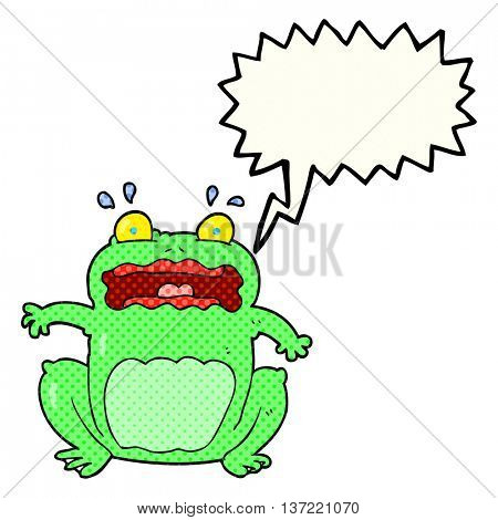 freehand drawn comic book speech bubble cartoon funny frightened frog