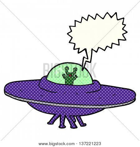 freehand drawn comic book speech bubble cartoon alien spaceship
