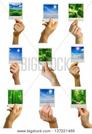 photo card blank in a hand on the white