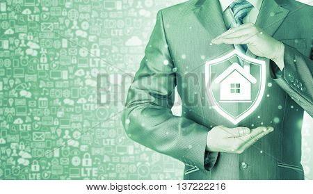 House protection and insurance. Home shield. Real estate safety. Icons background. Communication, Internet.