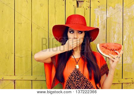 Surprised Woman in Red Hat with Watermelon Slice