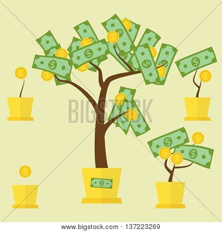 Money tree concept with green dollars as leafs and golden coins as fruit. Vector illustration for financial growth banking abundance income start up market gain