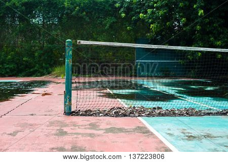 Abandoned tennis court, nobody use. abandonment and alone concept.