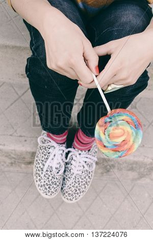 candy girl / close up with lollies