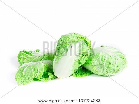 The fresh chinese cabbage on a white background