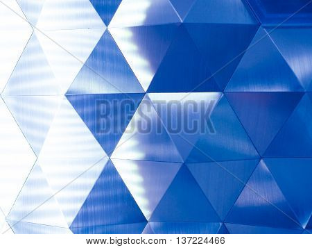 Blue Low Poly Geometric Abstract Background With Lighting On The Left