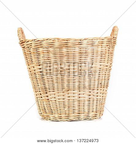 the empty brown Wicker baskets on white background