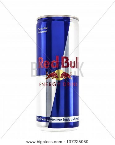 SWINDON UK - JANUARY 12 2014: Can of Red Bull Energu Drink on white background