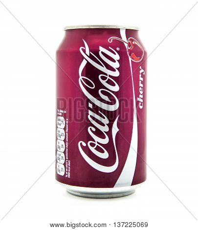 SWINDON UK - JANUARY 21 2014: Can of Cherry Coca-Cola on a white background